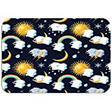 908iop 980 Carpet Rug Door Mat Weather Icons Sun Clouds Moon Rainbow Rain Snow Lightning Bright