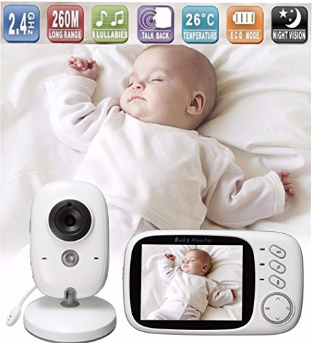 Lullaby Bay – Wireless Video Baby Monitor with Digital Camera. Anti-Hack Encryption. 3. 2 inch LCD Screen. Night Vision. Temperature Sensor. 2-Way Talk. Long Range. 8 Lullabies. Wall-mountable camera 514UZmEhTgL