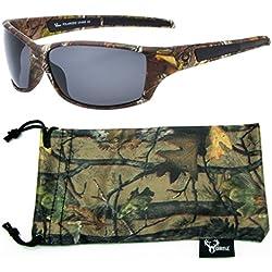 Hornz Brown Camuflaje del Bosque polarizados Gafas de Sol de Marco y de los Hombres Libres del Deporte a Juego Completa Bolsa de Microfibra – Marco de Marrón Camo - Lente Humo