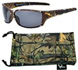 Hornz Brown Forrest Camouflage Polarised Sunglasses for Men Full Sport Frame & Free Matching Microfiber Pouch – Brown Camo Frame - Smoke Lens