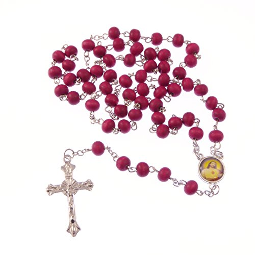 wood-wooden-red-long-silver-metal-rosary-beads-necklace-various-saints-75cm
