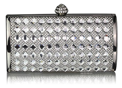 TrendStar Frau Entwerfer Glitzerndes Kristall Abend Hart Fall Kupplungs Damen Abschlussball Partei Handtasche Silber 1