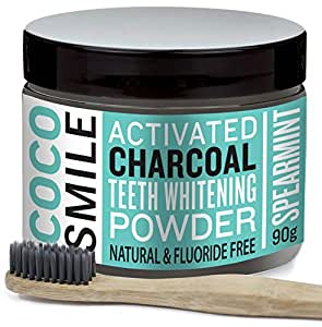 CocoSmile Activated Charcoal Teeth whitening powder with Charcoal Bamboo toothbrush | 90g | Spearmint flavor
