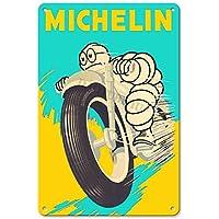 RuFS Michelin Tires Plaque Cartel de Chapa Pared Hierro Retro Pintura Placa Chapa Vintage Arte Creatividad Decoración Artesanías para Cafe Bar Garaje Hogar