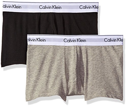 Calvin Klein Herren Boxershorts 2P TRUNK, Gr. Small, Grau (HEATHER GREY/BLACK BHY)