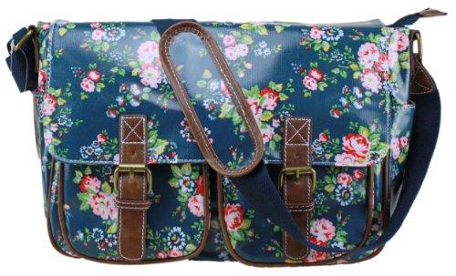 Damen-Handtasche, Messenger Bag, Wachstuch, Blumenprint, Punkte