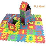 Alphabet Numerals Puzzle Play Mat, Kids Alphabet and Numbers Puzzle Mat, Multi Color (36 Pieces),Size-12x12