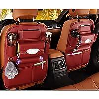 LJO Universal De Cuero Coche Back Seat Organizador Multifunción Almacenamiento Bolsa Bandeja Tejido Caja,Red