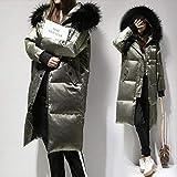 GUXIU Winter große Pelzkragen Daunenjacke Frauen mit Kapuze weiße daunen Lange Parkas Mantel weibliche dünne Schnee Oberbekleidung,Armee grün,XXL