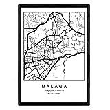 Nacnic Blatt Malaga Stadtplan nordischen Stil schwarz und