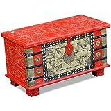 Festnight Baúl de Madera Vintage de Almacenamiento 80x40x45 cm Rojo