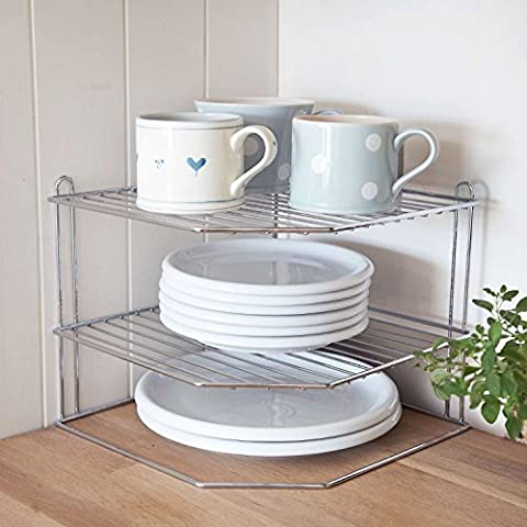 CookSpace ® Corner 3 Tier Chrome Plate Holder Stand / Plate Storage Rack, Space Saver