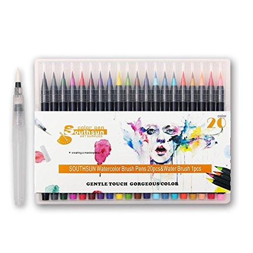 20FARBEN Aquarell Pinsel Marker Pen, Soft Flexible Spitze und lebendige Farbe, gute Starter Set für Farbgebung, Zeichnen, Malen, Zeichnen