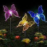 Luci solari da giardino a forma di farfalla,MMTX 3 pezzi Luce di palo solare cambiamento di colore Luci giardino LED Farfalle Decorazioni per feste all'aperto Prato Cortile Sentiero