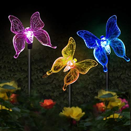 Luci solari da giardino a forma di farfalla,MMTX 3 pezzi Luce di palo solare cambiamento di colore Luci giardino LED Farfalle Decorazioni per feste all\'aperto Prato Cortile Sentiero