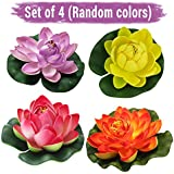 Tied Ribbons Set Of 4 Artificial Floating Lotus Flowers With Rubber Leaf - Set Of 4 (Multicolor)