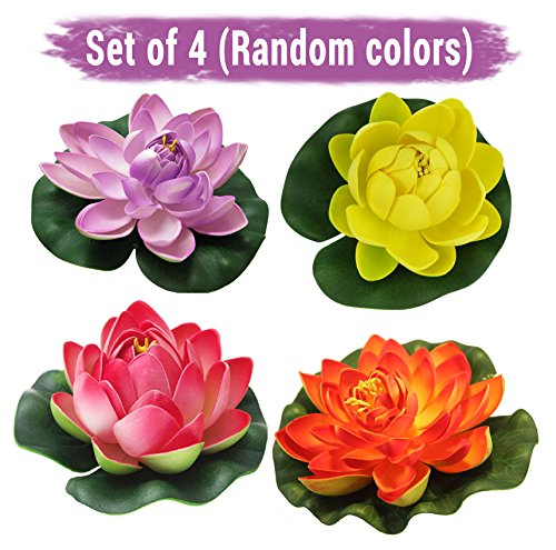 Tied Ribbons Set Of 4 Artificial Floating Lotus Flowers With Rubber Leaf...