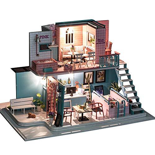 DIY Holz Puppenhaus Kit, DIY Haus Kreativraum mit Möbeln K-034 Rosa Serie Cafe Holiday Geburtstagsgeschenk mit Musik City of Sky (kein Staub Dover keine Batterie kein Klebstoff und Werkzeuge)