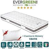 Evergreenweb - Materasso Singolo 80x190 alto 20cm a Molle in Acciaio e Waterfoam con CUSCINO Memory,...