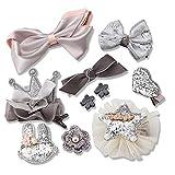 Albeey 10 Stück Haarclip Baby Mädchen Haarspange Haarbögen Kinder Boutique Haarklammern Haarschmuck Set (grau)