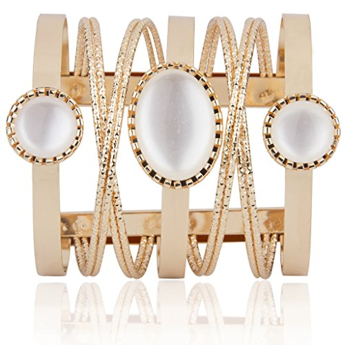 Naveli Designer Gold Plated With Pearls Cuff Kada Bangle Bracelet For Women