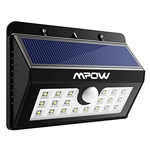 Mpow 20 LED Solar Lights Motion Sensor Security Light, 3-in-1 Wireless Weatherproof Security Solar Light Motion Sensor Lamp (3 Intelligent Modes, Black)