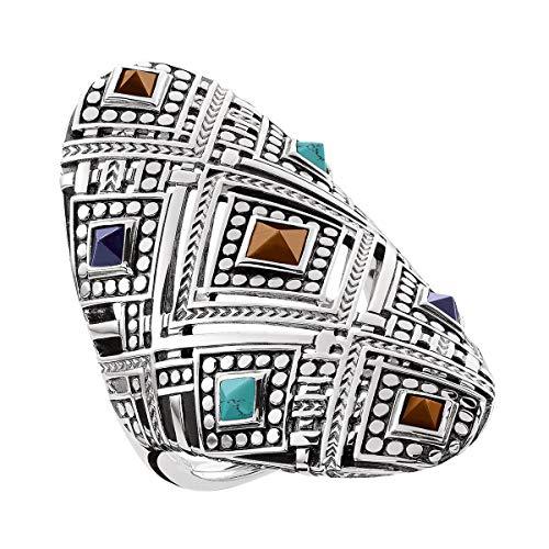 THOMAS SABO Damen-Ring Afrika Ornamente Silberner Schildring mit bunten Steinen 925 Silber Tigerauge braun Türkis Lapis Lazuli Gr. 54 (17.2) - TR2128-361-7-54