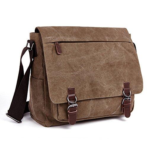 QINCAO Damen Herren Canvas Schultertasche Vintage Schultasche Canvas Umhängetasche Retro Messenger Bag (Blau) Kaffee