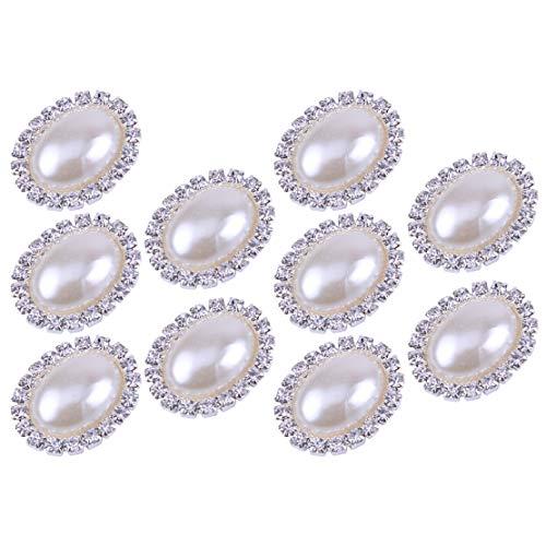 10 Perle Oval Strass-Taste Klebstein Verschönerung Handwerk (Tasten Perle Und Strass)