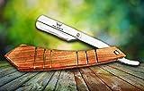 mise au point du monde®–Homme Coupe droite Gorge rasoir avec manche en bois en acier inoxydable rasoir