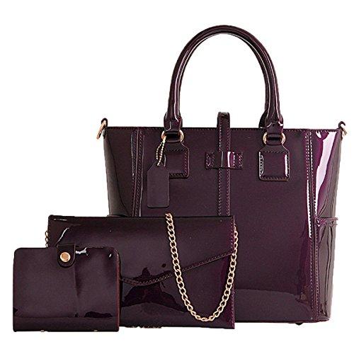 ADEMI Business-Patent-Leder-Satchel-Ton-Handtaschen-Frauen-Umhängetaschen 3 PC,Purple-M -