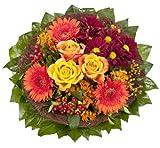 Amazon.de Pflanzenservice Blumenstrauß'Füllhorn' mit orangen Rosen und Germini