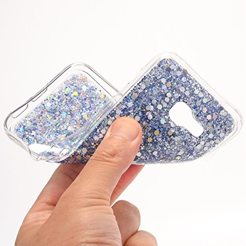 JAWSEU Samsung Galaxy A5 2017 Coque Transparent Glitter,Samsung Galaxy A5 2017 Etui en Silicone Clair avec Pailletee,Brilliante Bling Étoile Perles Soft Tpu Case Cover,Ultra Slim Sparkle Scintillant F bleu/gliter