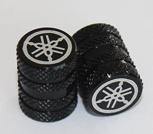 Juego de 2 GENUINE Yamaha Puesta a punto Horquilla Moleteado NEGRO Neumático Tapón Para Válvula Tapas Protectores para motocicletas, Bicicletas, ATV , Coche , Camioneta