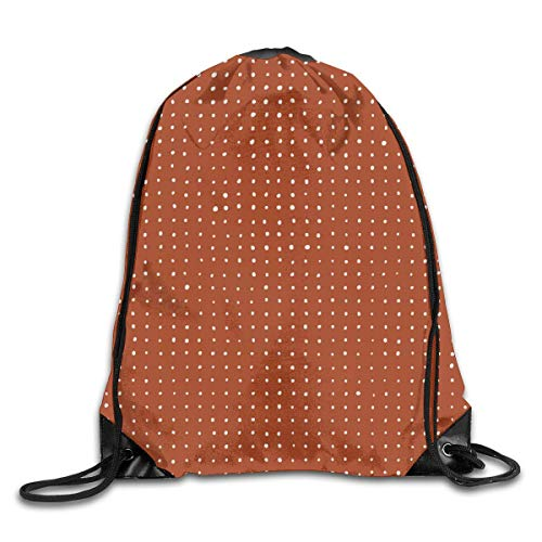 Naiyin Light Grey dots on Rust Drawstring Bag Backpack Sackpack Shoulder Bags Gym Bag Lightweight Gym for Men and Women Hiking Swimming Yoga Rust Dot