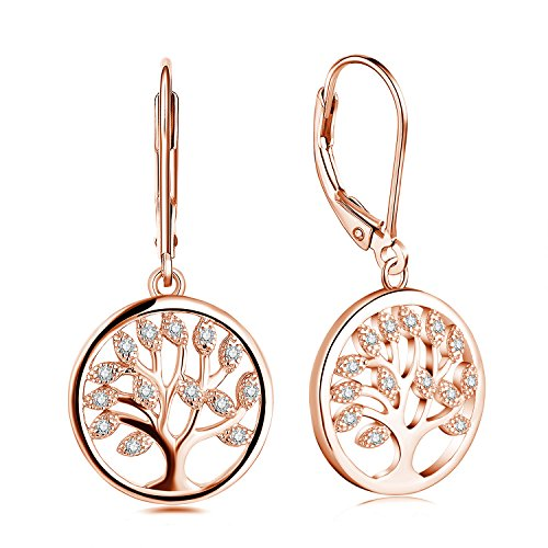 JO WISDOM Damen hängende ohrringe lebensbaum silber 925 baum des lebens mit AAA Zirkonia mit Rose vergoldet