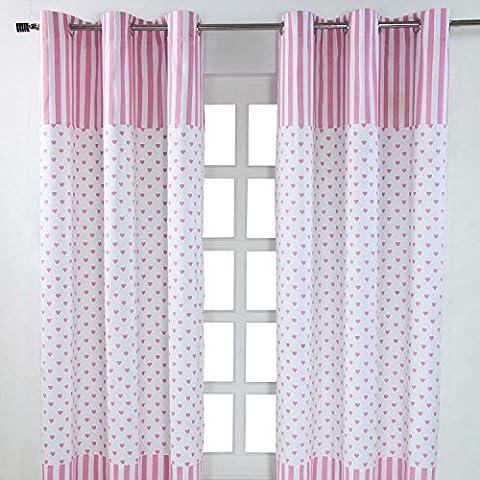 Homescapes Kindervorhang Mädchen Kinderzimmer Ösenvorhang Dekoschal Hearts 2er Set pink weiß 137 x 228 cm (Breite x Länge je Vorhang) 100% reine