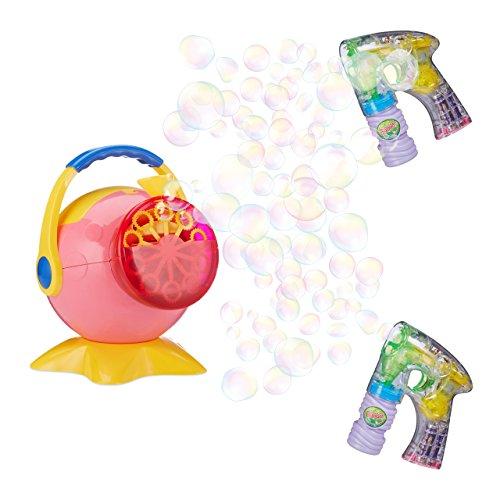 3 teiliges Seifenblasen Fun Set, 2 Seifenblasenpistolen mit LED und Seifenblasenmaschine, Für Kinder, Mit Batterie, (Party Bubble Maschine)