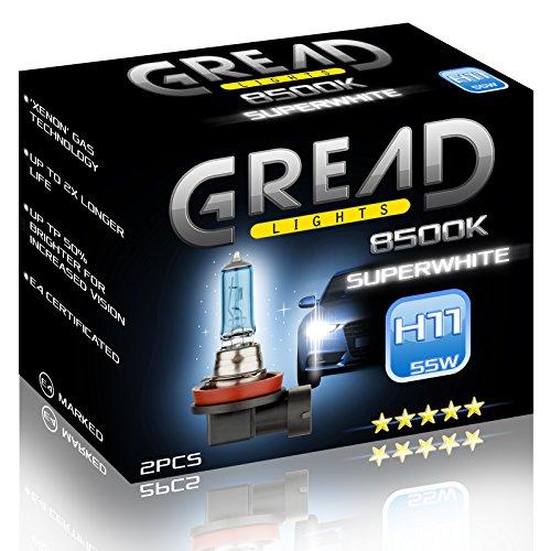 Preisvergleich Produktbild 2x H11 Halogen Lampen in Xenon Optik von Gread Lights | Super White | 8500k 55W | E-Prüfzeichen | 100% Passgenauigkeit & lange Lebensdauer