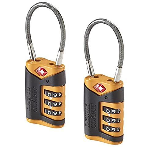 Tsa-Approved Combination Luggage Lock With Steel Cable (2-Pack), Orange, One Size