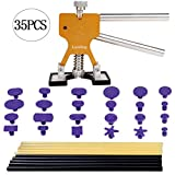 LucaSng PDR Tools, 35 Attrezzi di Riparazione di ammaccature Senza Rivestimento PDR Set Gold Dent Lifter + PDR Stick + PDR Adesivo Trolley Dent Removal Tool Dent Removal Tool Kit