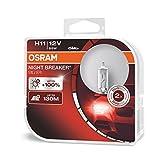 OSRAM NIGHT BREAKER SILVER H11, +100% mehr Helligkeit, Halogen-Scheinwerferlampe, 64211NBS-HCB, 12V Pkw, Duo Box (2 Lampen)