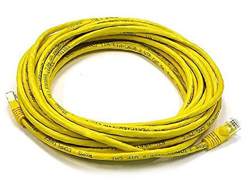 Monoprice Cat6 Ethernet-Patchkabel (Netzwerkkabel, RJ45, gerändelt, 550 MHz, UTP, reines Kupferdraht, 24 AWG) gelb 25 Feet -