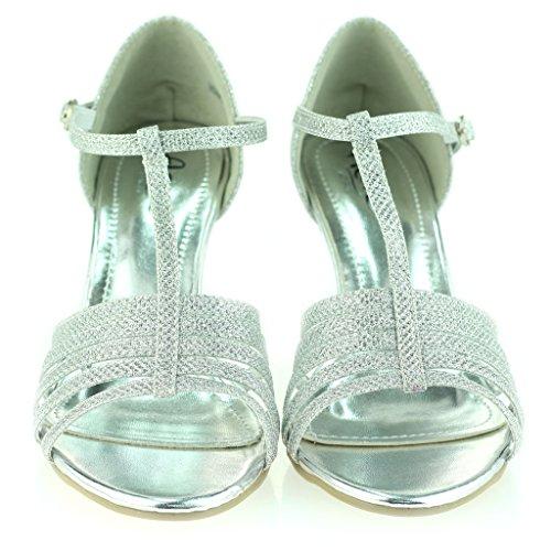 Frau Damen Offener Zeh T-Bar Mittlere Ferse Abend Party Hochzeit Abschlussball Sandale Schuhe Größe Silber