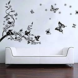 Romántica Pegatina Calcomanía para decorar la pared Árbol y Mariposas