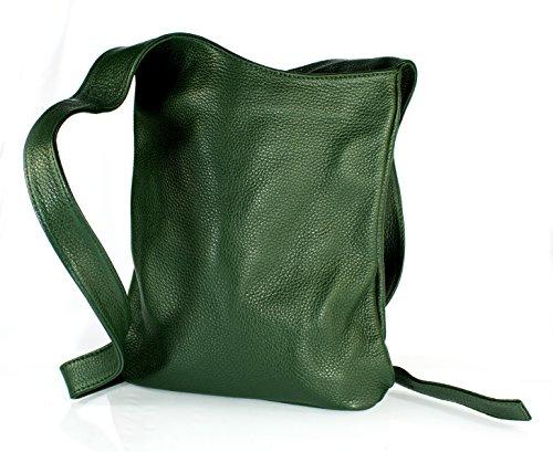 Echt Leder Damentasche Handtasche Ledertasche Schultertasche Umhängetasche (blau) grün