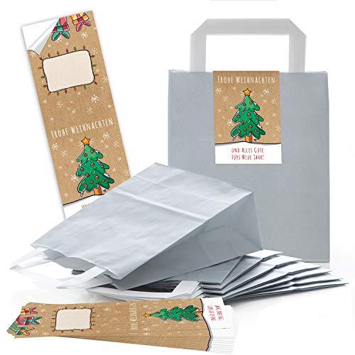 25chiaro grigio weihnachtliche sacchetti di carta regalo borsa manico con pavimento 18x 8x 22cm + 25adesivi buon natale alles gute per nuovo anno verde colorato beige confezione regalo riempire