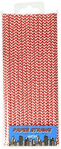 Red Chevron Papier Straws - Pop Art Superhero Partei