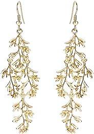 BriLove Filigree Vine Leaf Earrings for Women Wedding Bridal Long Chandelier Hook Dangle Earrings Gold-Toned
