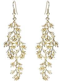 Clearine Women's Gorgeous Leaf Vine Cluster Dangle Pierced Chandelier Hollow Earrings Gold-Tone
